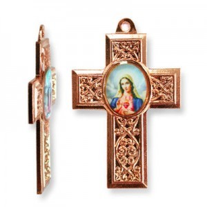 40x28mm Immaculate Heart of Mary Cross Pendant Italian Quality Enamel on Antiqued Copper Tone Base 6pcs