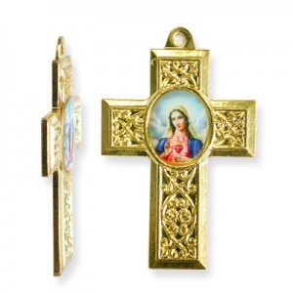 40x28mm Immaculate Heart of Mary Cross Pendant Italian Quality Enamel on Gold Tone Base 6pcs