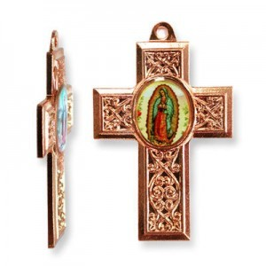 40x28mm Our Lady of Guadalupe Cross Pendant Italian Quality Enamel on Antiqued Copper Tone Base 6pcs