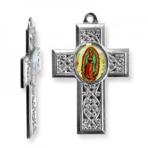 40x28mm Our Lady of Guadalupe Cross Pendant Italian Quality Enamel on Antiqued Silver Tone Base 6pcs