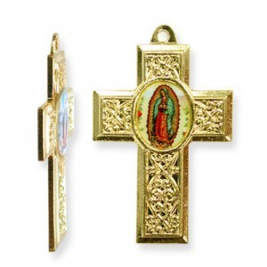 40x28mm Our Lady of Guadalupe Cross Pendant Italian Quality Enamel on Gold Tone Base 6pcs