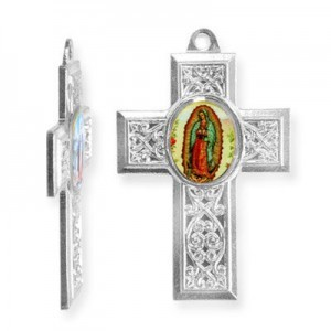 40x28mm Our Lady of Guadalupe Cross Pendant Italian Quality Enamel on Platinum Color Base 6pcs