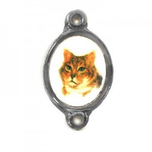 15x13mm (Size W/O Rings) Cat 2-Ring Oval Spacer Italian Quality Enamel on Antiqued Silver Tone Base 6pcs