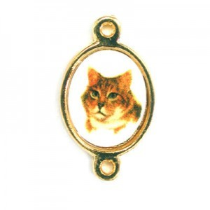 15x13mm (Size W/O Rings) Cat 2-Ring Oval Spacer Italian Quality Enamel on Gold Tone Base 6pcs