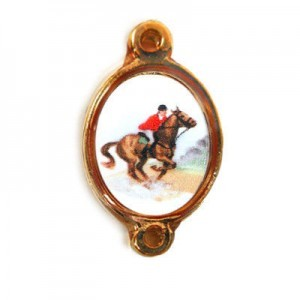 15x13mm (Size W/O Rings) Jockey on a Race Horse 2-Ring Oval Spacer Italian Quality Enamel on Antiqued Copper Tone Base 6pcs