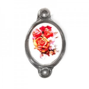 15x13mm (Size W/O Rings) Bouquet of Roses 2-Ring Oval Spacer Italian Quality Enamel on Antiqued Silver Tone Base 6pcs