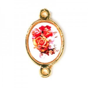 15x13mm (Size W/O Rings) Bouquet of Roses 2-Ring Oval Spacer Italian Quality Enamel on Gold Tone Base 6pcs