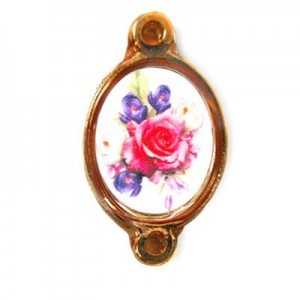 15x13mm (Size W/O Rings) Bouquet of Mix Flowers 2-Ring Oval Spacer Italian Quality Enamel on Antiqued Copper Tone Base 6pcs