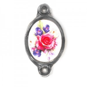 15x13mm (Size W/O Rings) Bouquet of Mix Flowers 2-Ring Oval Spacer Italian Quality Enamel on Antiqued Silver Tone Base 6pcs