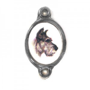15x13mm (Size W/O Rings) Dog 2-Ring Oval Spacer Italian Quality Enamel on Antiqued Silver Tone Base 6pcs