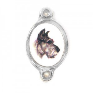 15x13mm (Size W/O Rings) Dog 2-Ring Oval Spacer Italian Quality Enamel on Platinum Color Base 6pcs