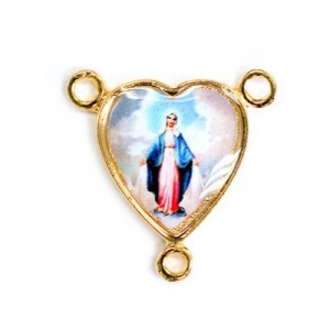 15x14mm Our Lady of Miraculous Medal Heart Rosary Center Italian Quality Enamel on Gold Tone Base 6pcs