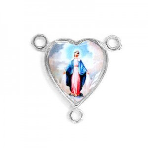 15x14mm Our Lady of Miraculous Medal Heart Rosary Center Italian Quality Enamel on Platinum Color Base 6pcs