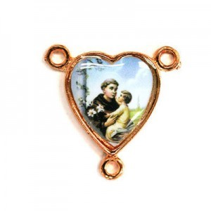 15x14mm St. Anthony Heart Rosary Center Italian Quality Enamel on Antiqued Copper Tone Base 6pcs