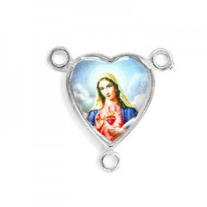 15x14mm Immaculate Heart of Mary Heart Rosary Center Italian Quality Enamel on Platinum Color Base 6pcs