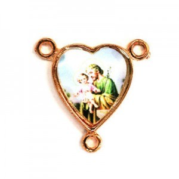 15x14mm St. Joseph Heart Rosary Center Italian Quality Enamel on Antiqued Copper Tone Base 6pcs