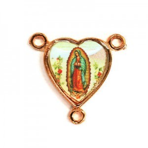 15x14mm Our Lady of Guadalupe Heart Rosary Center Italian Quality Enamel on Antiqued Copper Tone Base 6pcs