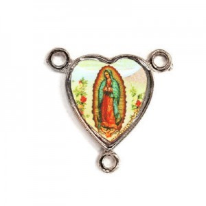 15x14mm Our Lady of Guadalupe Heart Rosary Center Italian Quality Enamel on Antiqued Silver Tone Base 6pcs