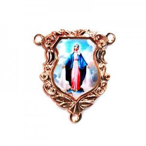 19x16mm Our Lady of Miraculous Medal Shield Rosary Center Italian Quality Enamel on Antiqued Copper Tone Base 6pcs