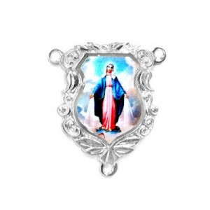 19x16mm Our Lady of Miraculous Medal Shield Rosary Center Italian Quality Enamel on Platinum Color Base 6pcs