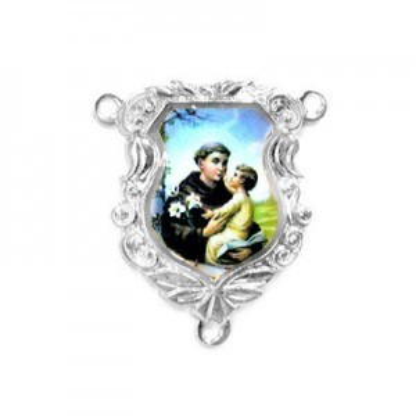 19x16mm St. Anthony Shield Rosary Center Italian Quality Enamel on Platinum Color Base 6pcs
