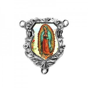 19x16mm Our Lady of Guadalupe Shield Rosary Center Italian Quality Enamel on Antiqued Silver Tone Base 6pcs