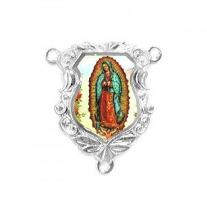 19x16mm Our Lady of Guadalupe Shield Rosary Center Italian Quality Enamel on Platinum Color Base 6pcs