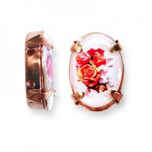 16x12mm Bouquet of Roses 2-Hole Oval Spacer Italian Quality Enamel in Antiqued Copper Tone Setting 6pcs