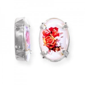 16x12mm Bouquet of Roses 2-Hole Oval Spacer Italian Quality Enamel in Platinum Color Setting 6pcs