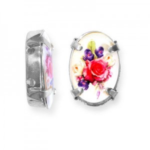16x12mm Bouquet of Mix Flowers 2-Hole Oval Spacer Italian Quality Enamel in Platinum Color Setting 6pcs