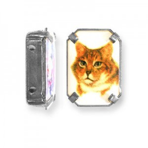 19x13mm Cat 2-Hole Rectangle Spacer Italian Quality Enamel in Antiqued Silver Tone Setting 6pcs