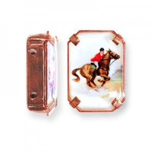 19x13mm Jockey on a Race Horse 2-Hole Rectangle Spacer Italian Quality Enamel in Antiqued Copper Tone Setting 6pcs