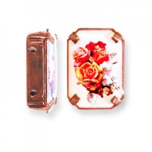 19x13mm Bouquet of Roses 2-Hole Rectangle Spacer Italian Quality Enamel in Antiqued Copper Tone Setting 6pcs