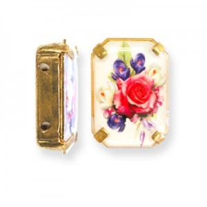 19x13mm Bouquet of Mix Flowers 2-Hole Rectangle Spacer Italian Quality Enamel in Gold Tone Setting 6pcs
