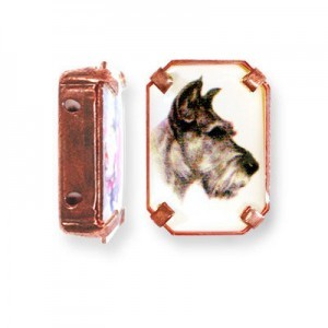 19x13mm Dog 2-Hole Rectangle Spacer Italian Quality Enamel in Antiqued Copper Tone Setting 6pcs