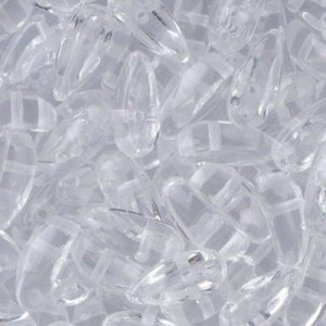 Czech 2-Hole Chilli Bead 4x11mm Crystal Apx 100pc