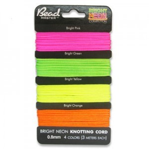 Chinese Knotting Cord 0.8mm 5m X 4 Bright Neon Colors on Card