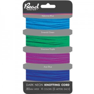 Chinese Knotting Cord 0.8mm 5m X 4 Dark Neon Colors on Card