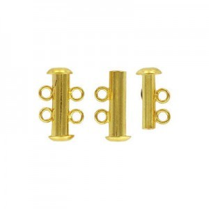 2-Row Slide Clasp Gold Plate (Priced Per Dozen)
