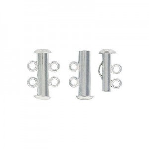 2-Row Slide Clasp Silver Plate Lacquered (Priced Per Dozen)
