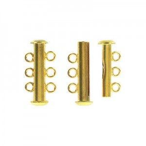 3-Row Slide Clasp Gold Plate (Priced Per Dozen)