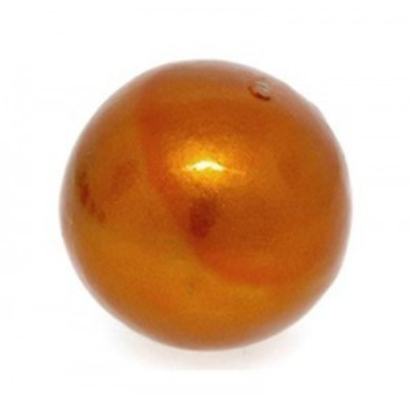 20mm Round Cotton Bead Burnt Orange Pearl