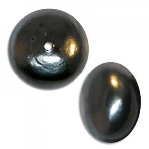 19x25mm Cotton Rondelle Bead Hematite Pearl