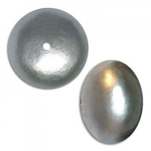 19x25mm Cotton Rondelle Bead Silver Pearl