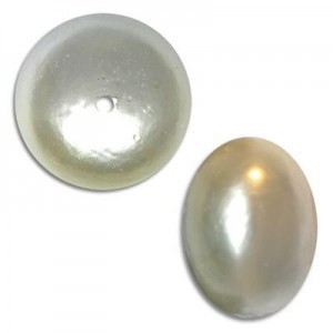 19x25mm Cotton Rondelle Bead White Pearl