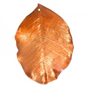 Large 51-65mm 1mm Hole Copper Plated Natural Carob Leaves 1 Pcs