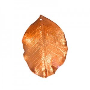 Medium 31-50mm 1mm Hole Copper Plated Natural Carob Leaves 1 Pcs