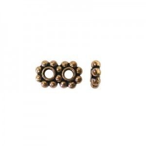 7.5mm Beaded Rondelle X 2-Row Spacer Genuine Antiqued Copper 50 Pcs