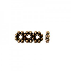 6mm Beaded Rondelle X 3-Row Spacer Genuine Antiqued Copper 50 Pcs