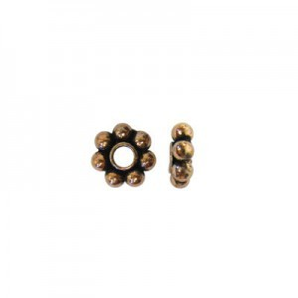 8mm Beaded Rondelle Genuine Antiqued Copper 50 Pcs
